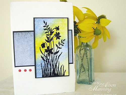 Colorful Silhouettes Rubber Stamped Card