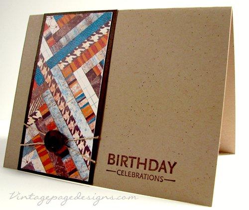 Fall Birthday Card Herringbone