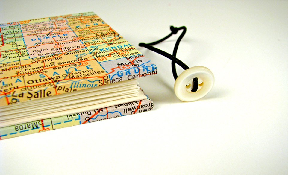 Vintage Map Mini Accordian Journal 6