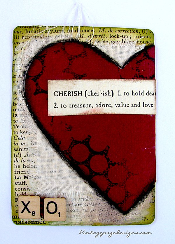 Mixed media altered playing card