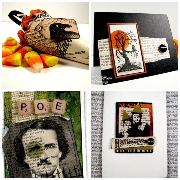 Rubber stamped halloween projects