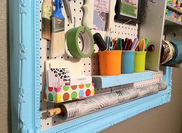 Pegboard with painted blue frame