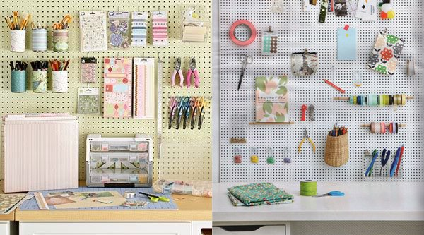 Recycled cans and washi tape on pegboard labelled