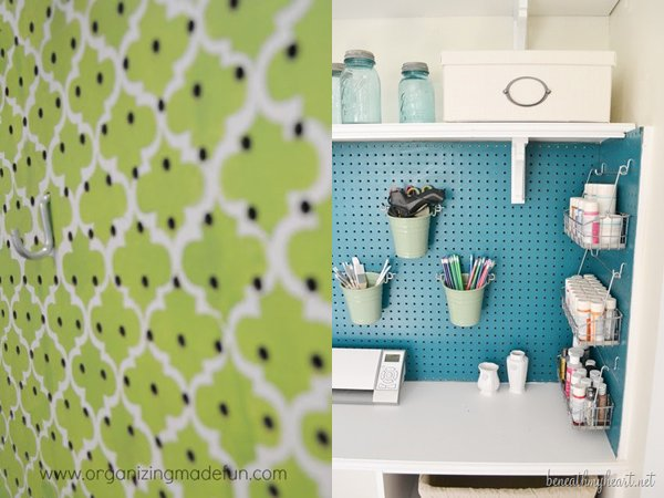Stenciled pegboard and backsplash