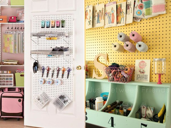 Yellow painted pegboard and closet door pegboard