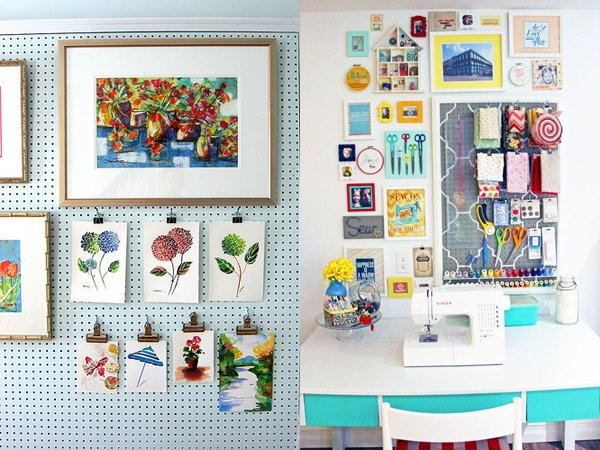 artwork and fabric on pegboard