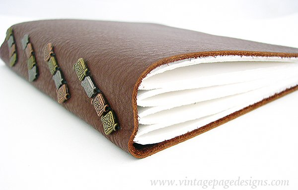 Tacketed Leather Journal with Metal Beads 1