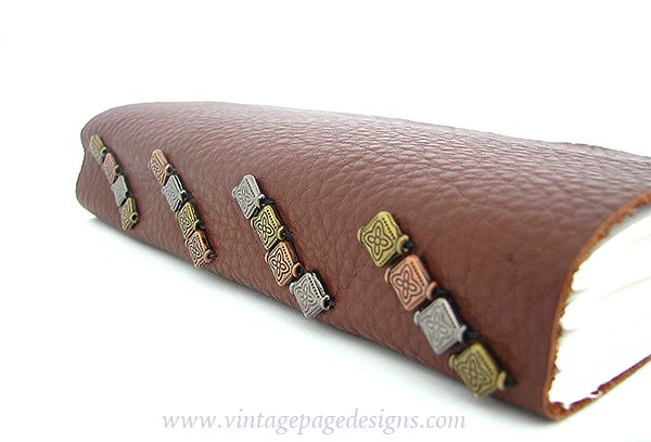 Tacketed Leather Journal with Metal Beads 3