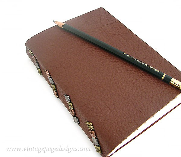 Tacketed Leather Journal with Metal Beads 5