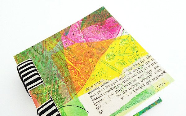 Gelli print sewn over tapes book