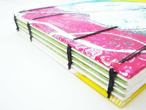 Gelli Print Coptic Sketchbook