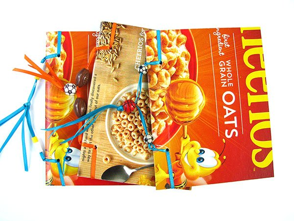 Back to school recycled cereal box notebook