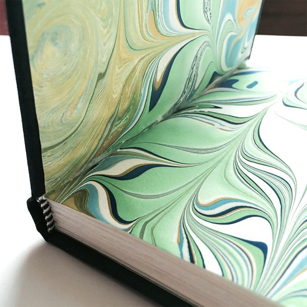 case bound book with marbled paper