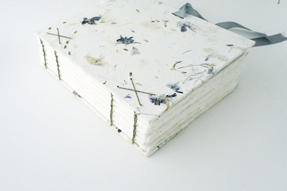 Coptic book with handmade paper