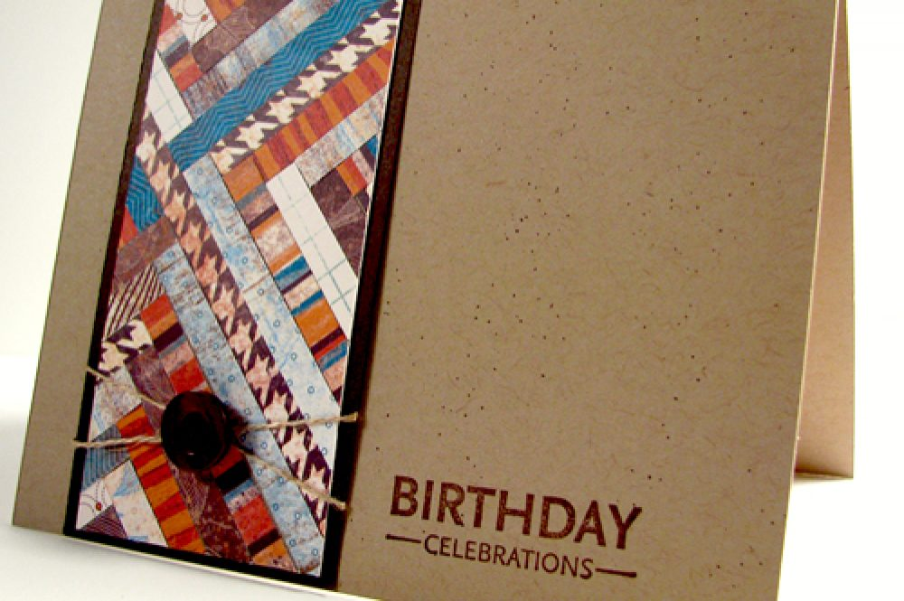 Fall Birthday Card Herringbone