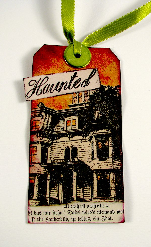 Rubber stamped Halloween Tag  with vintage book page