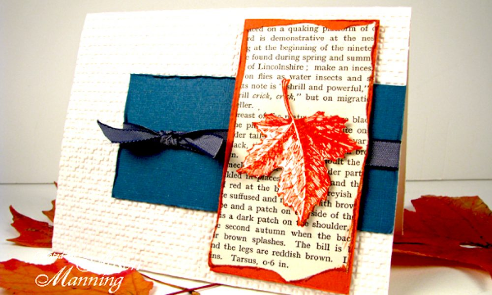 Rubber stamped fall card vintage book