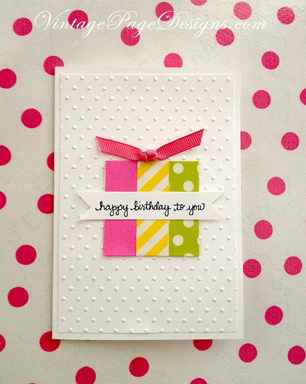 Handmade Card Washi Tape Birthday