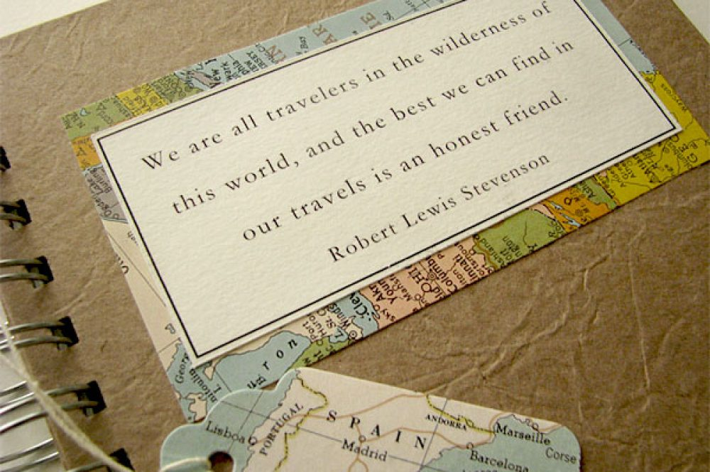 Travel journal with robert lewis stevenson quote
