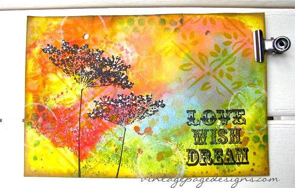 Art Journal Page with Stencils, tim holtz & penny black stamps & distress inks