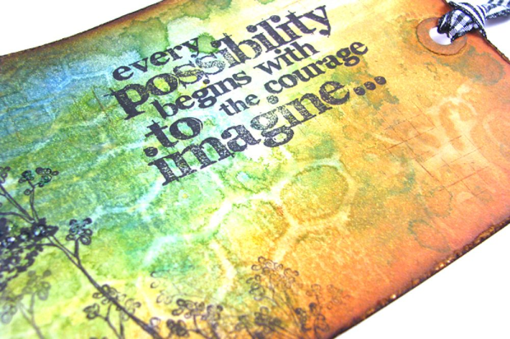 Tag with rubber stamps ink and stencils2