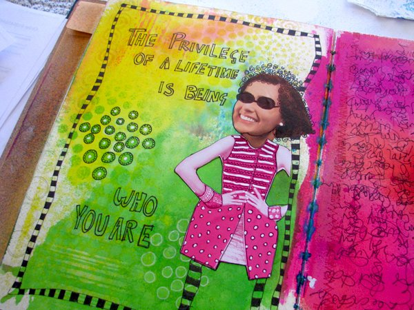 art journal page dyan reaveley class