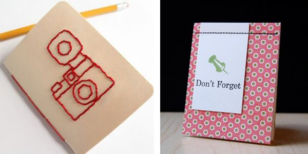 embroidered and machine stitched notebooks