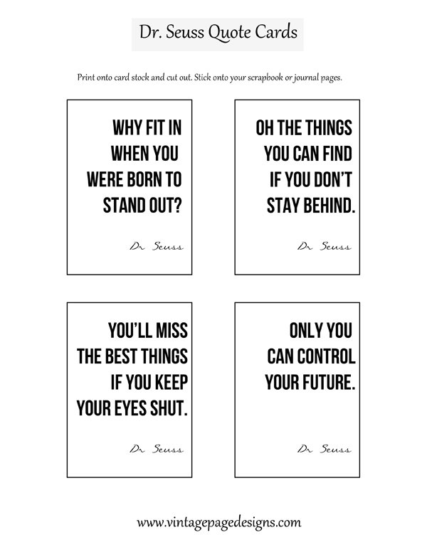 photo about Free Printable Dr Seuss Quotes known as Absolutely free Dr Seuss Estimate Playing cards -
