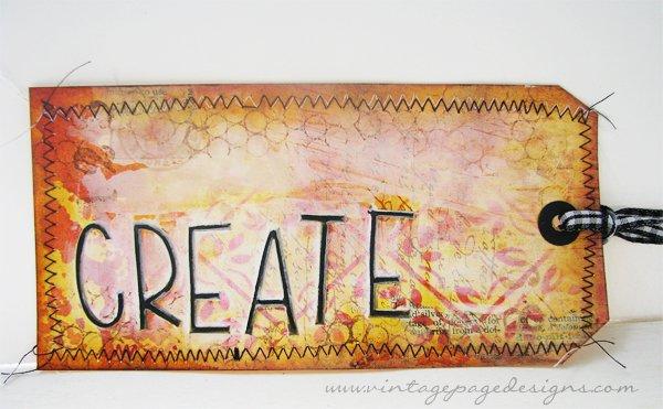 Create Orange Mixed Media Tag