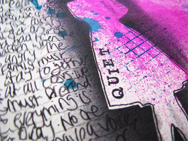 Rubber stamped title on art journal page