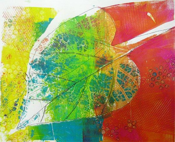 Large Leaf Monoprint with stitching