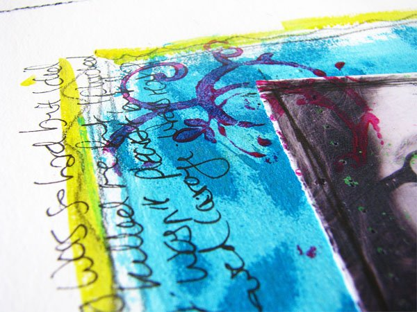 art journal page with acrylic paint