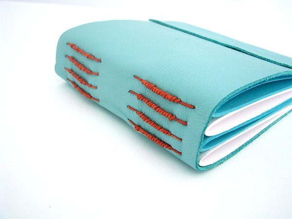 Book 2 Blue Leather Tacketed with Packing on Spine 6