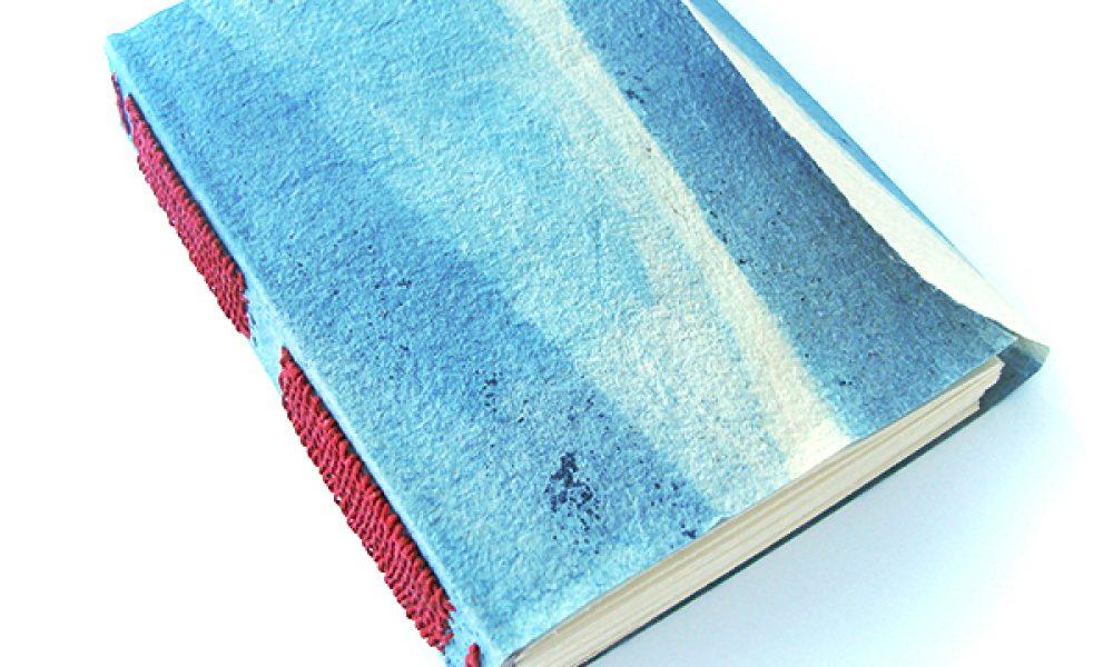 Long stitch / Link stitch binding with indigo cave paper