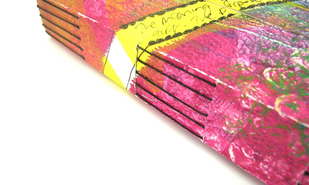 Longstitch handmade journal with Slotted Wrapper