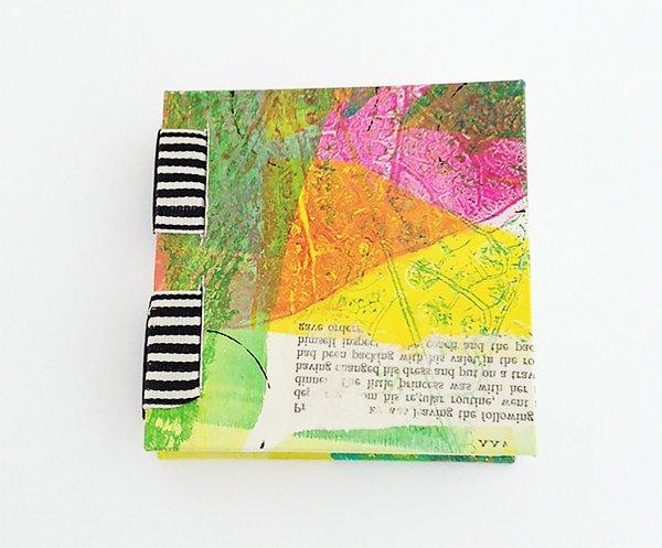 Gelli Print Mini Book Sewn Over Tapes