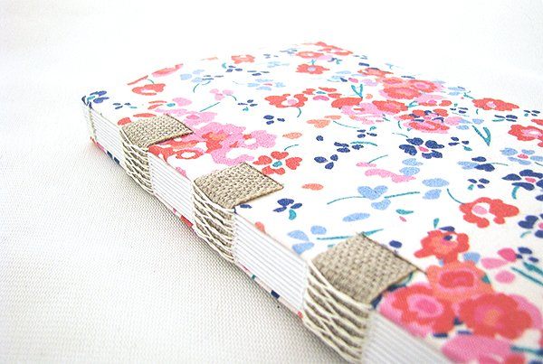 hand made fabric book with french link stitch