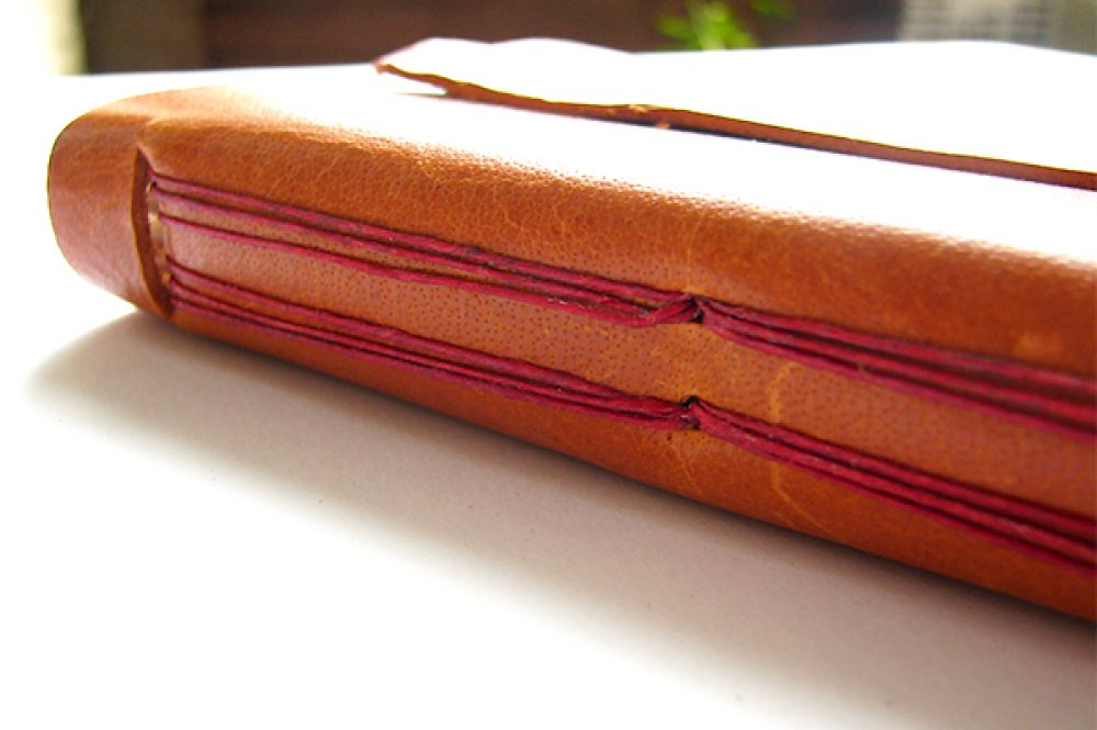Leather Journal with Hour Glass Stitching
