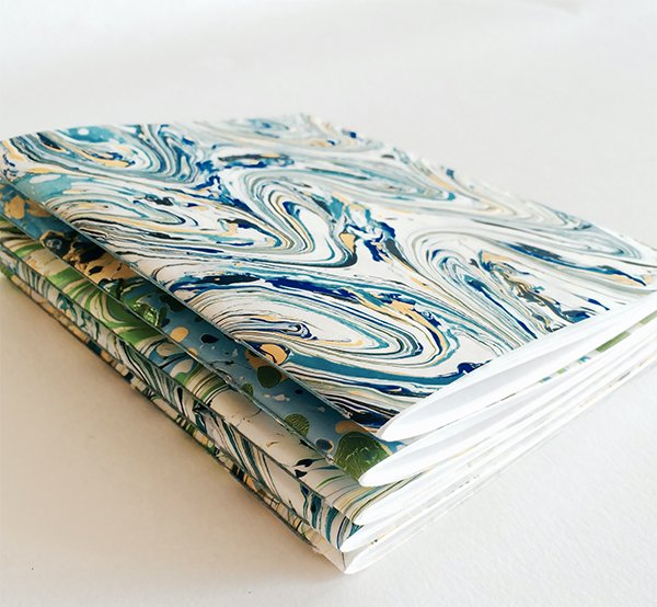 Marbled paper notebooks