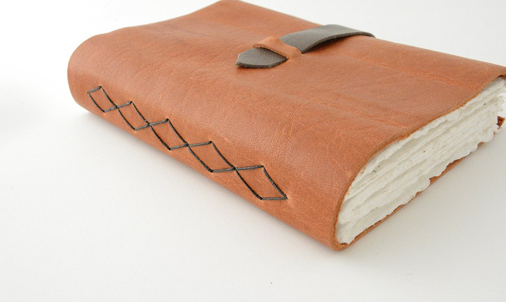 Leather Journal with Diamond Pattern