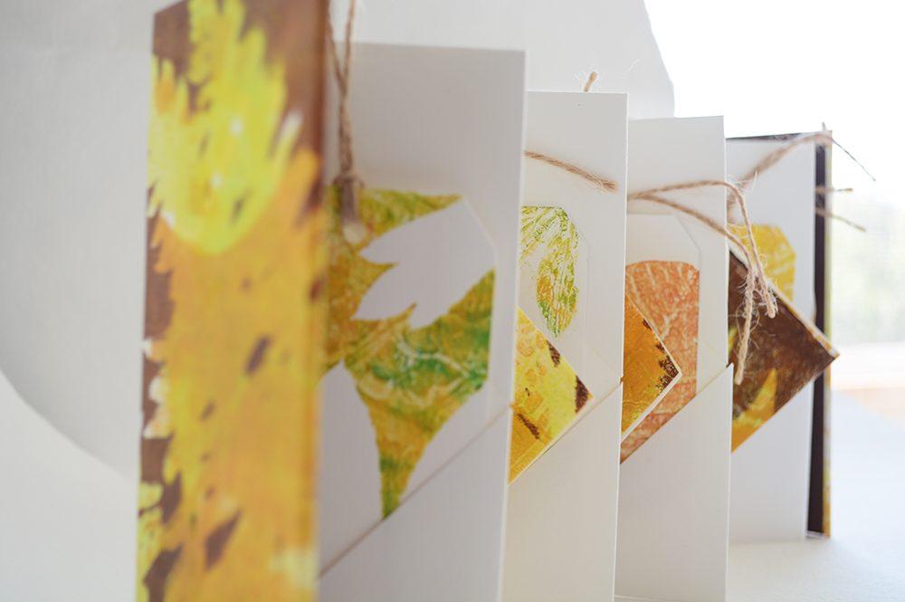 Winged Book with Gelli Fall Leaf Prints