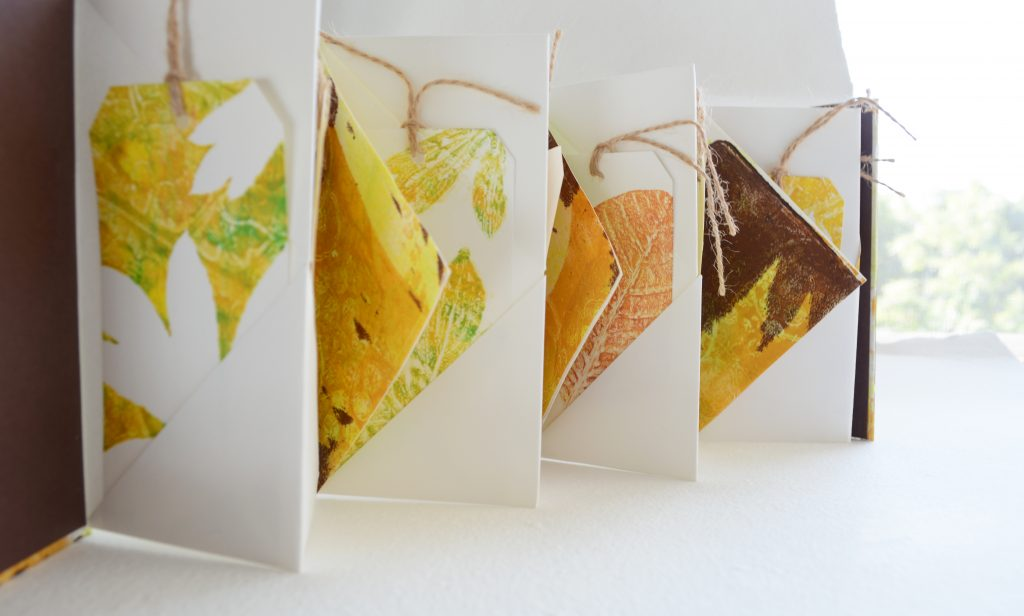 Winged Book with Gelli Fall Leaf Prints