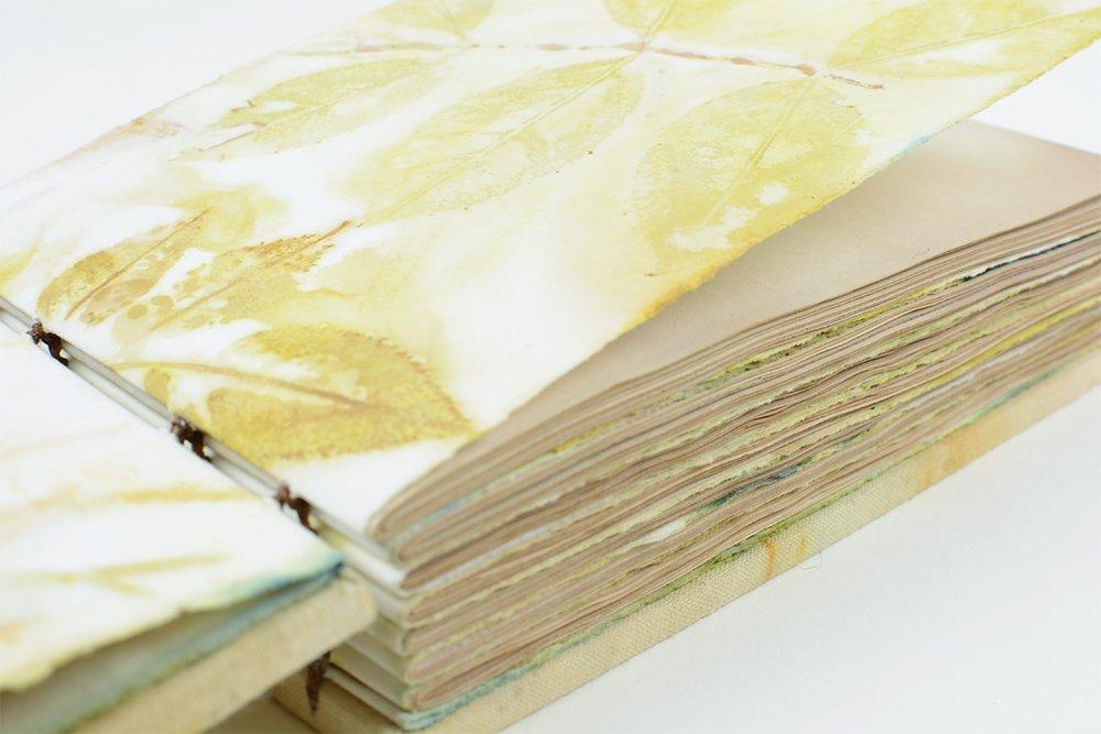 Eco Printed Coptic Bound Book | Vintage Page Designs