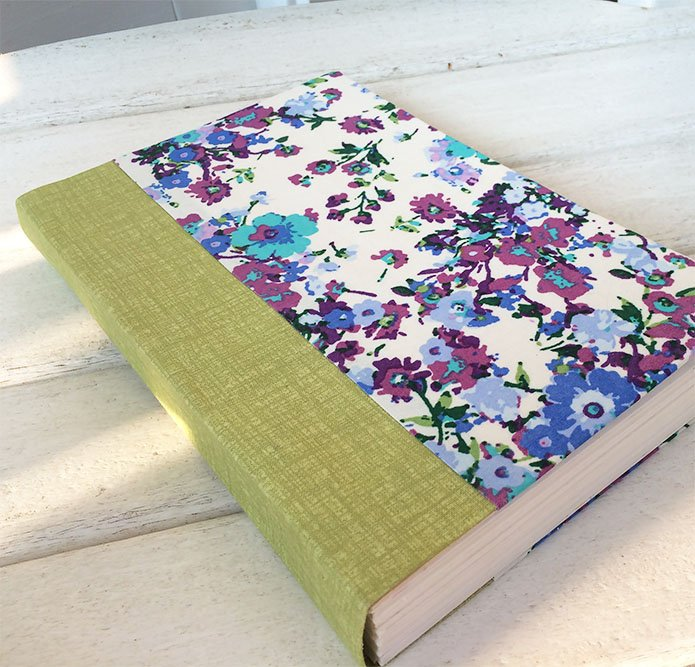 Sewn boards binding with diy book cloth