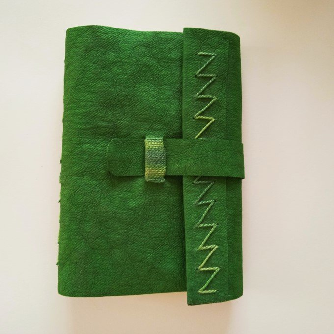 green book cover with stitching on flap