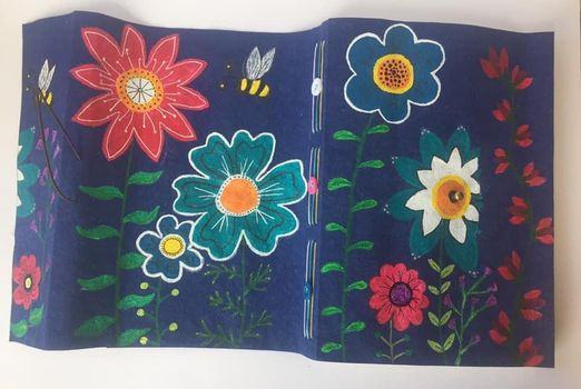 purple book cover with paintings of flowers and bees